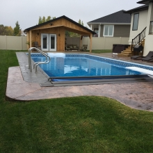 Backyard Oasis, Pool house and landscaping and design by DSI Contracting